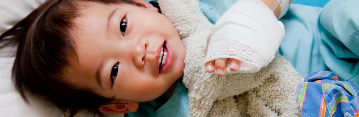 Boy patient in hospital. Little, baby