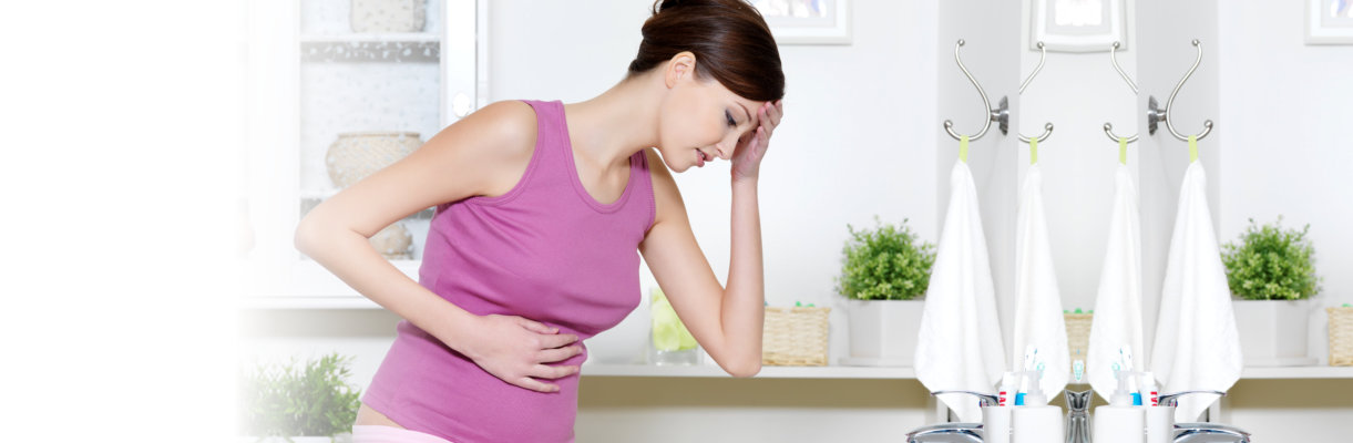 woman with strong pain of stomach